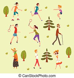 People walking and training in the park set, fitness and healthy lifestyle vector Illustration