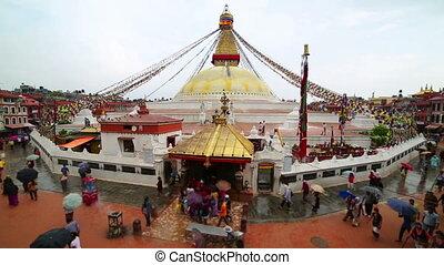 People walking around Buddha's Eyes as religious ritual, Kathmandu