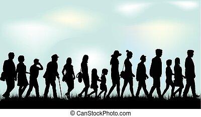 People walking black silhouettes.