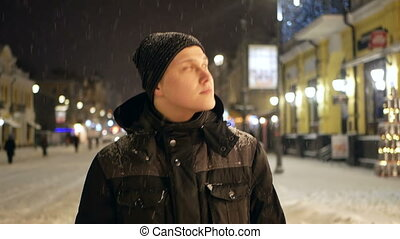 People walking city snow
