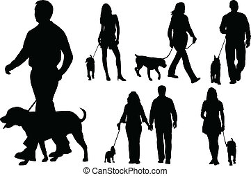 People walking dogs silhouettes - vector
