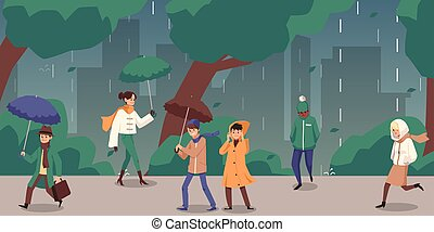 People walking down the street in rainy autumn day, flat vector illustration.
