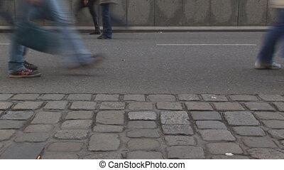 people walking fast long loop