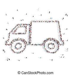 People walking in a car .3D illustration.