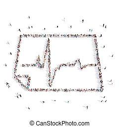 People walking in a cardiogram . 3D rendering.