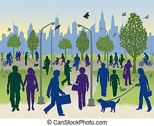 People Walking in a City Park - Vector illustration of...