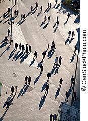 people walking in a pedestrian area seen from birds view, ...