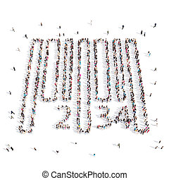 People walking in barcode .3D illustration. - From above...