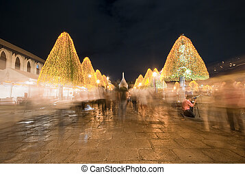 people walking in Grand Palace at night, the major tourism...