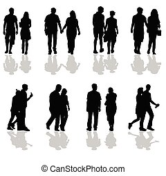 people walking in pairs silhouette on white background