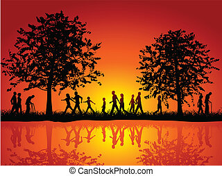 People walking in the countryside - Silhouettes of people...