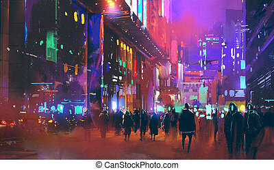 people walking in the sci-fi city at night with colorful light, illustration painting