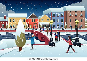 People Walking in Town During Winter Illustration