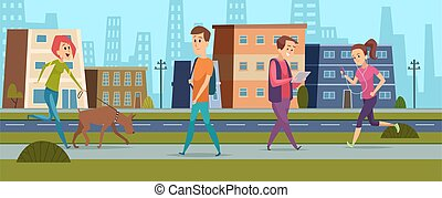 People walking. Men women on street, peace and kind in city. Cartoon girl running, female walk with dog guy reading vector illustration