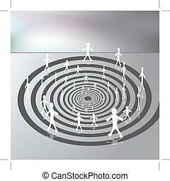 People Walking on a Downward Spiral Path - An image of a...
