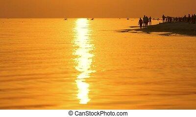People walking on beach at sunset.