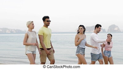 People Walking On Beach Talking, Young Tourists Group Communication