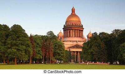 People walking on city park in Petersburg - people walking...