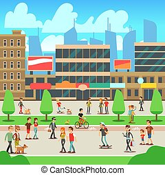 People walking on city street with urban cityscape vector illustration