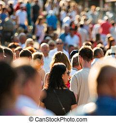 People walking on the city street. - Crowd of people walking...