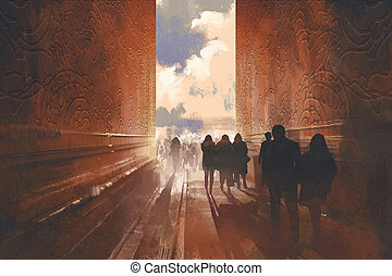 people walking on the narrow alley with graphic pattern on...