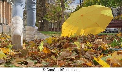 People walking on the sidewalk in autumn