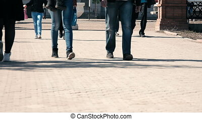 people walking on the street, crowded street