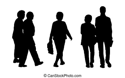 people walking outdoor silhouettes set 2