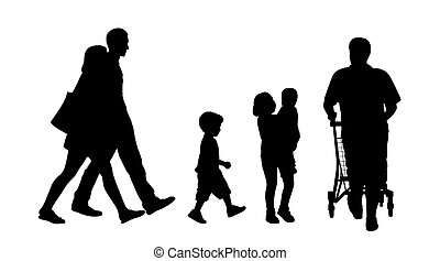 people walking outdoor silhouettes set 3