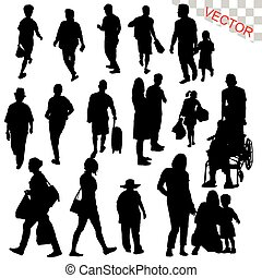 People Walking Outdoor Silhouettes Set vector