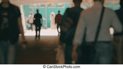 People walking outside, defocus
