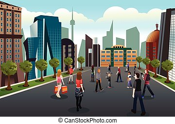 A vector illustration of people walking outside toward high rise buildings