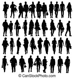 people walking silhouette vector black