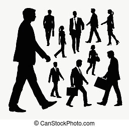 People walking silhouettes - People, male and female walking...