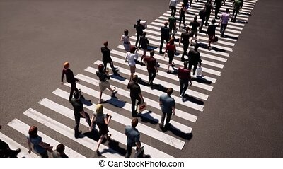 People walking zebra crossing, great design for any purposes. Pedestrian sign. Pedestrian crossing street. Top view background. City top view. People crowd. City busy pedestrian crossing.