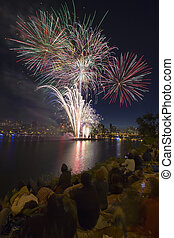 People Watching Fireworks Display Along the Banks of Willamette River in Portland Oregon Vertical