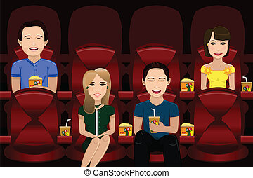 People watching movie - A vector illustration of people...