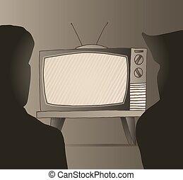 People watching old vintage tv set - Cartoon illustration of...