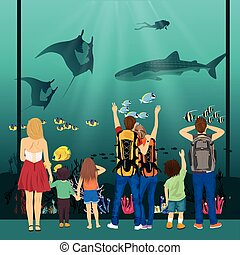 people watching underwater scenery with sea animals in giant oceanarium
