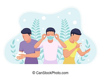 People wearing a face mask wash hands and sanitizing with alcohol spray to COVID-19 virus preventions