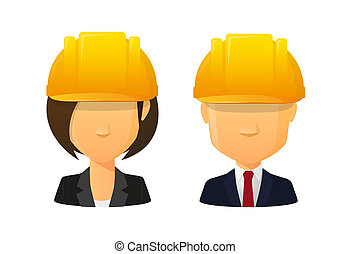 People wearing a work hat avatar set