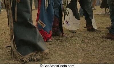 People wearing cowboy raiments - A stll close up shot of...