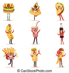 People Wearing Fast Food Snacks Costumes Disguised As Cafe Menu Items Set Of Cartoon Characters