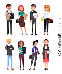 People Wearing Formal Wear Vector Illustration - People...