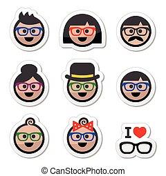 People wearing glasses, geek labels