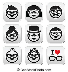 People wearing glasses, geeks icons - Vector icons set of ...