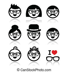 People wearing glasses, geeks icons