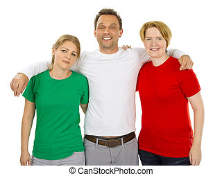 People wearing green white and red blank shirts
