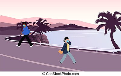 people wearing mask walking on the road