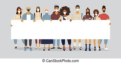 People wearing medical masks are holding a poster with copy space. Young boys and girls are holding a large billboard with a place for text, concept illustration about protests. Flat vector illustration.